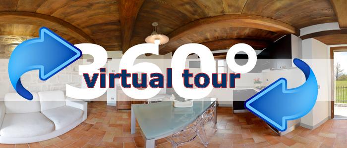 click per visualizzare il virtual tour di terrazza sul parco agriturismo